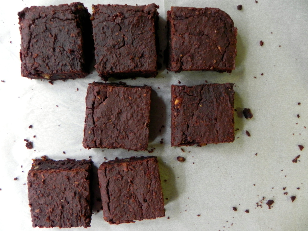 Fudgey Pumpkin Flourless Black Bean Brownies