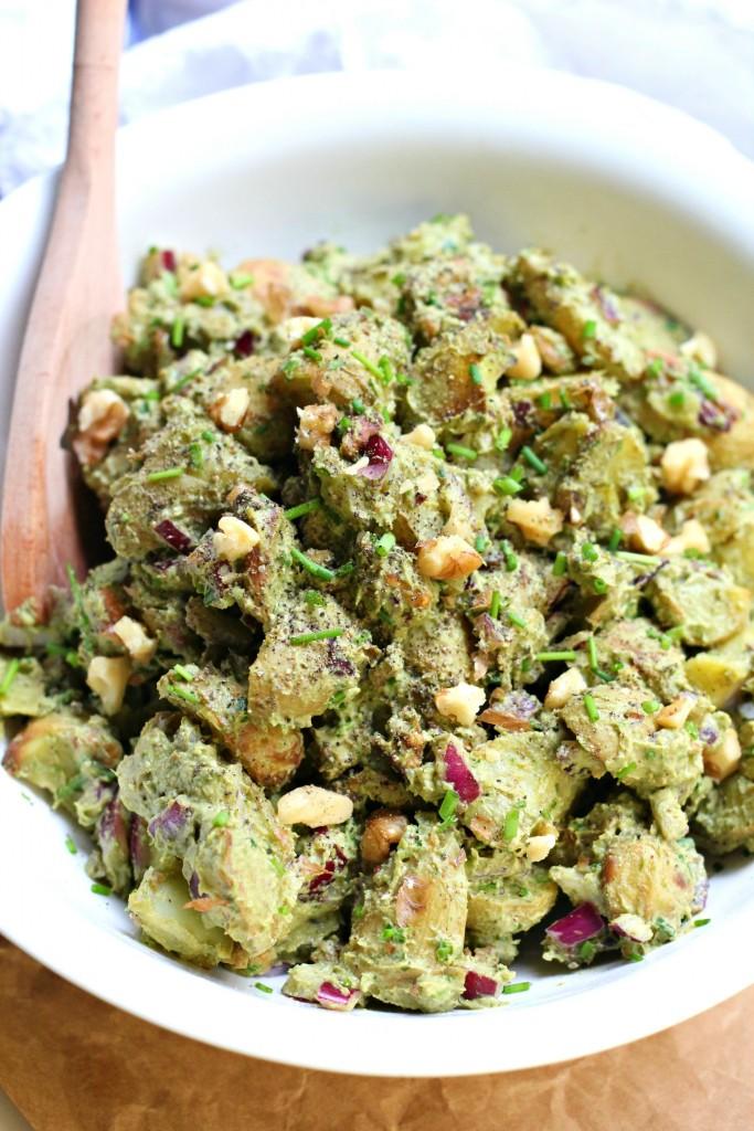 roasted potato pesto salad