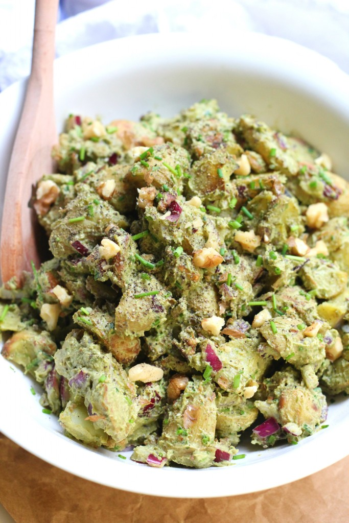 Roasted Potato Pesto Salad Healthy Vegan Gluten Free