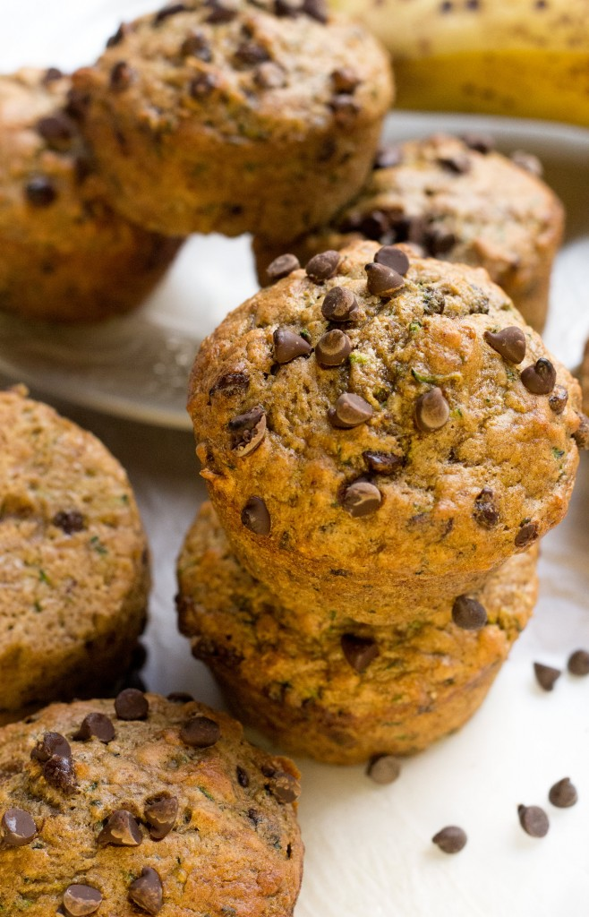 Chocolate Chip Banana Zucchini Muffins Vegan Oil Free Healthy