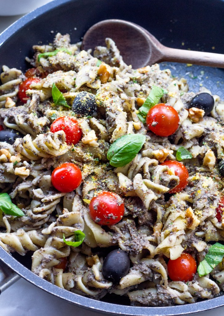 Basil Black Olive Tapenade Pasta with Cherry Tomatoes Vegan Gluten Free Healthy Oil Free
