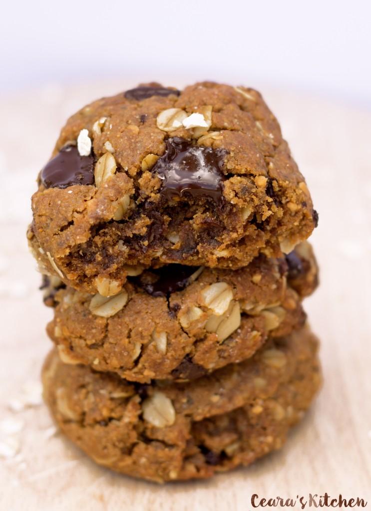 Chocolate Chunk Oatmeal Peanut Butter Cookies (Vegan + Gluten Free!)