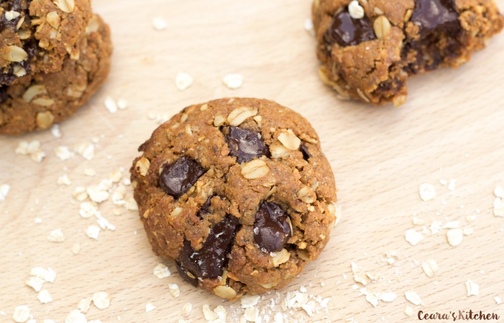 Chocolate Chunk Oatmeal Peanut Butter Cookies Vegan Gluten Free recipe