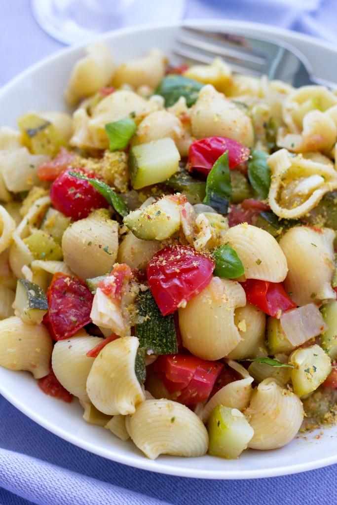 Tuscan Pasta - Tomato Zucchini Pasta Vegan recipe