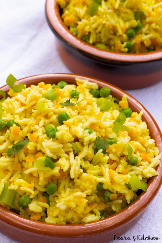 Indian Saffron Yellow Rice Vegan Gluten Free Healthy