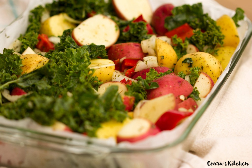 Vegan Gluten Free Healthy Roasted Garlic and Kale Potatoes recipe