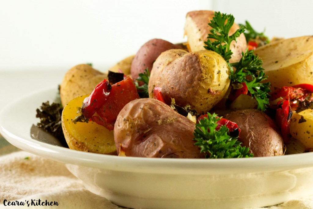 Vegan Gluten Roasted Garlic and Kale Potatoes