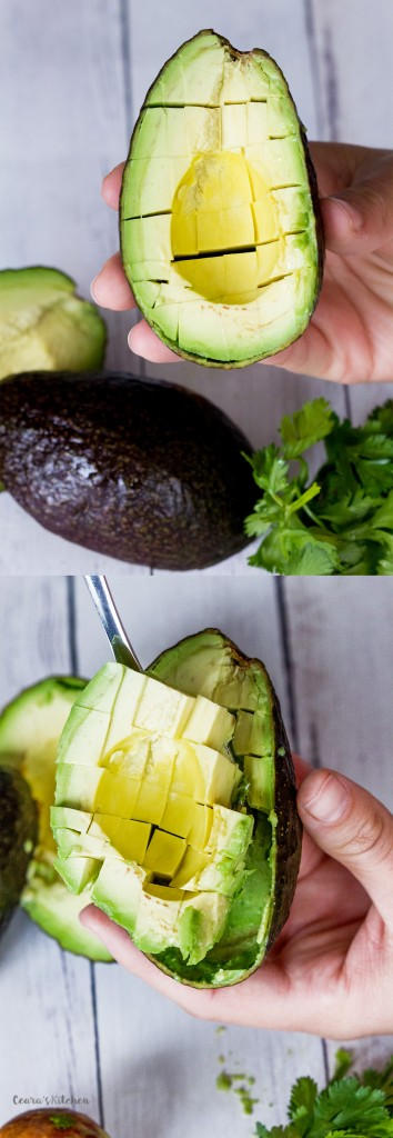 Cucumber Avocado Salad - How to cut an avocado