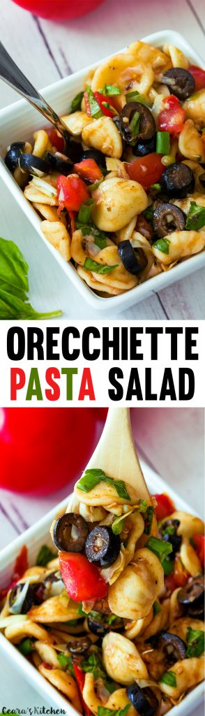 Healthy Orecchiette Pasta Salad with Basil, Olives and Tomatoes